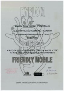 "II Miejsce w konkursie ""Friendly Mobile"""